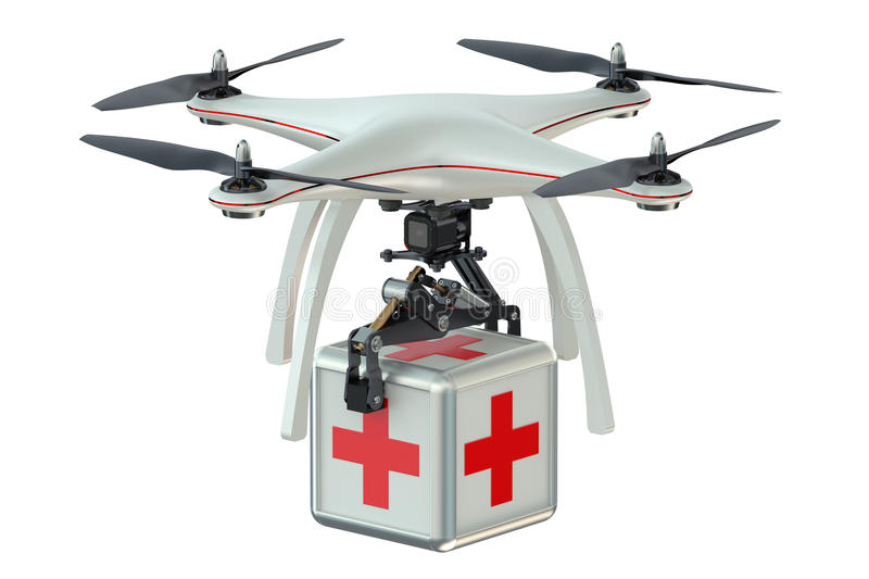 Drone with first aid kit. Isolated on white background