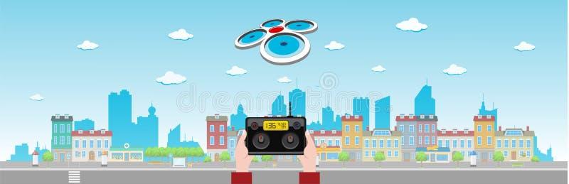 Drone Flies Above Long City vector illustration