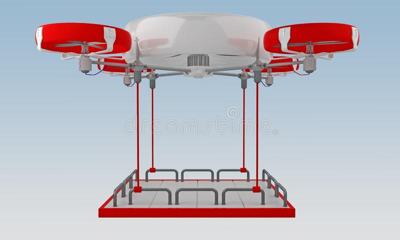 Drone flies cargo with carcass. Drone flies cargo with empty carcass. 3d rendering royalty free illustration