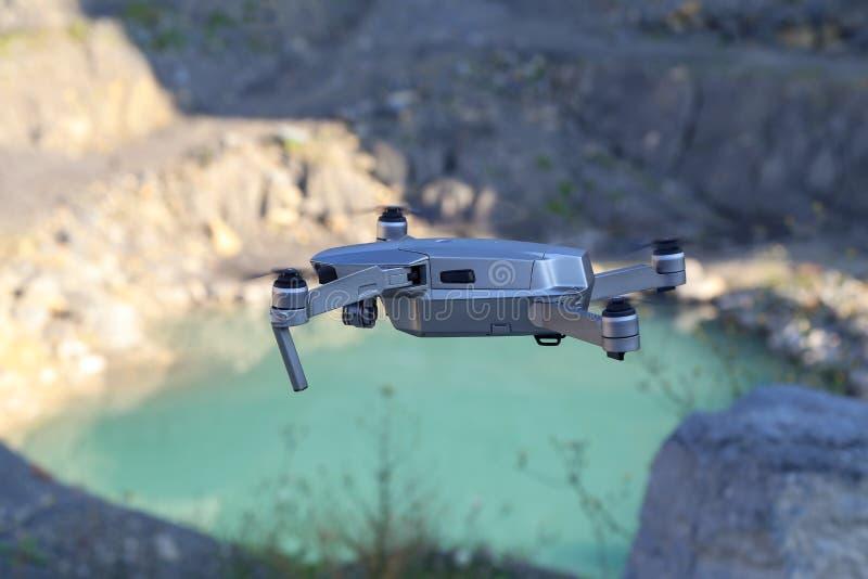 The drone flies stock photos