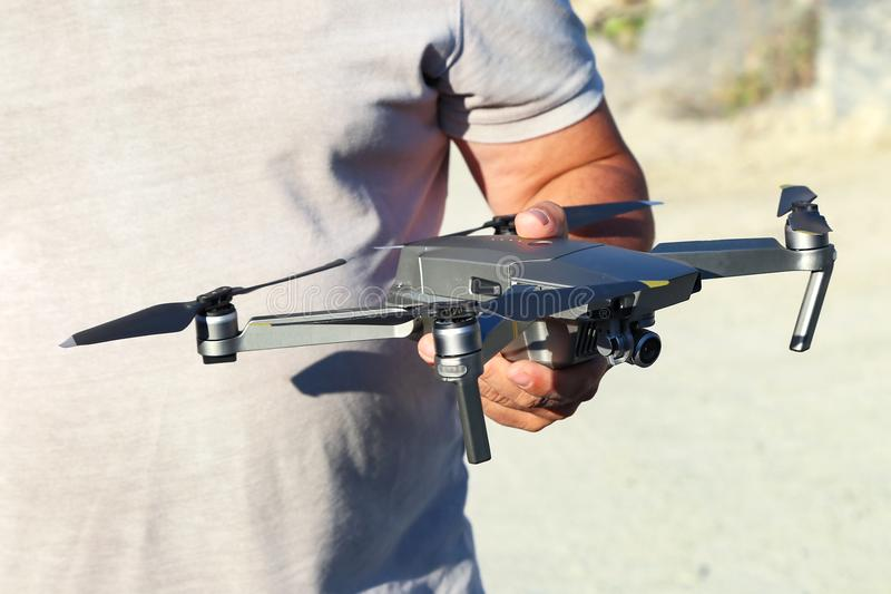 The drone flies royalty free stock images