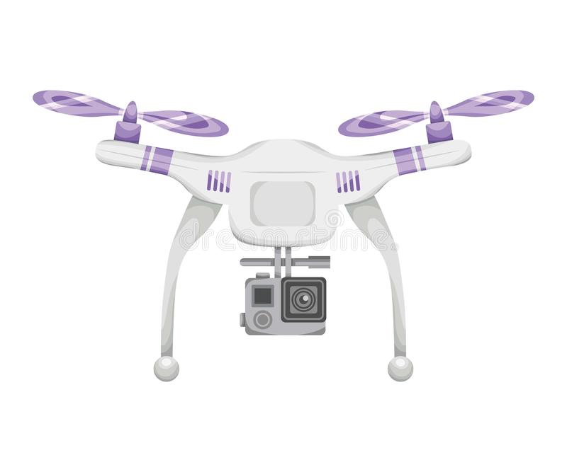 Drone flies on a white background isolated with a camera shoots. quadrocopter remote control flat style illustration. royalty free illustration