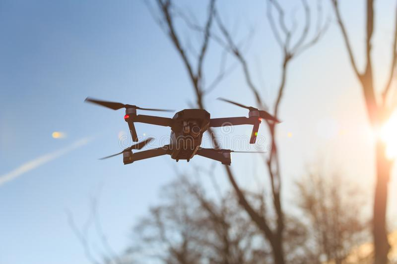 Drone in flight mode. On sky background royalty free stock photography