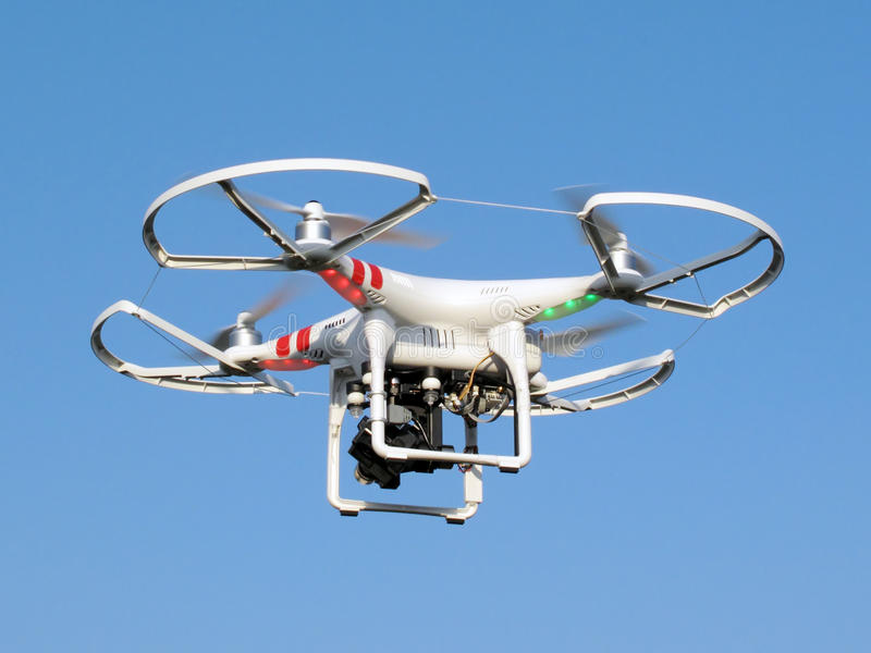 Download Drone in flight stock photo. Image of aircraft, quadrotor - 52370870