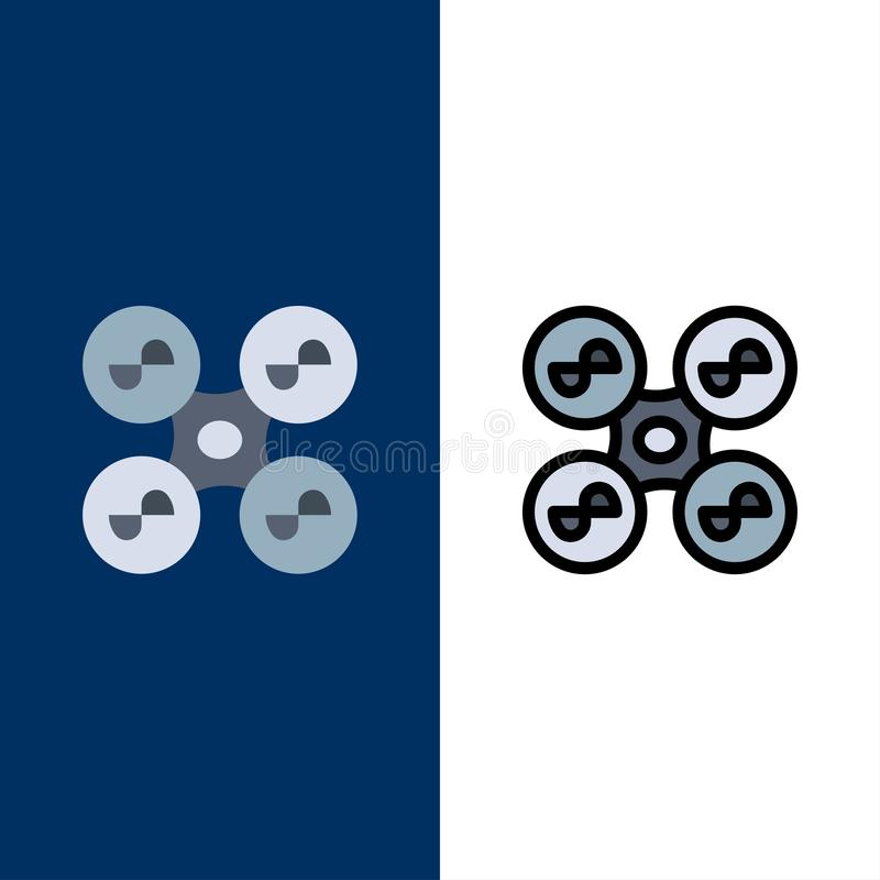 Drone, Fly, Quad copter, Technology  Icons. Flat and Line Filled Icon Set Vector Blue Background vector illustration