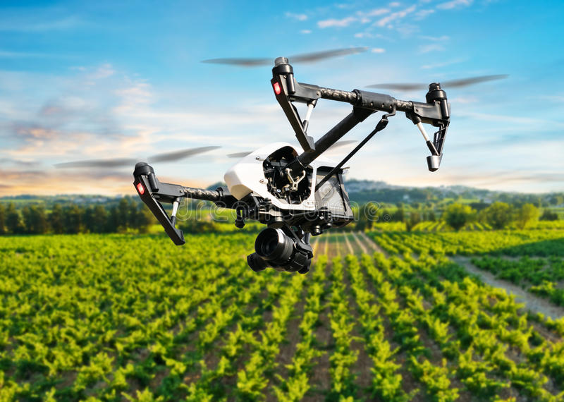 Drone flying above beautiful landscape royalty free stock photography