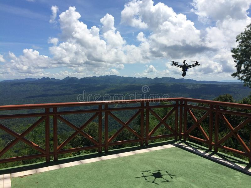 Drone Flying. Above the Forest royalty free stock photos