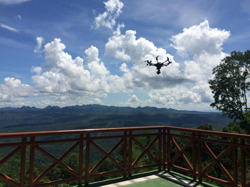 Drone Flying. Above the Forest stock photos
