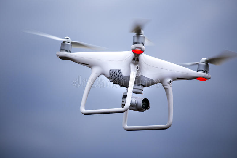 Drone flying in the air stock photos