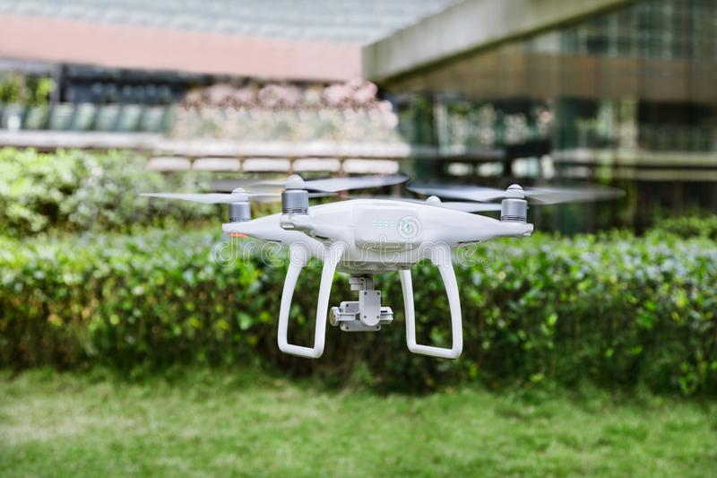 Drone flying in the air. royalty free stock image