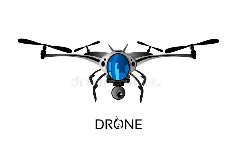 Drone Flying Air Quadrocopter Logo Icon. Vector Illustration