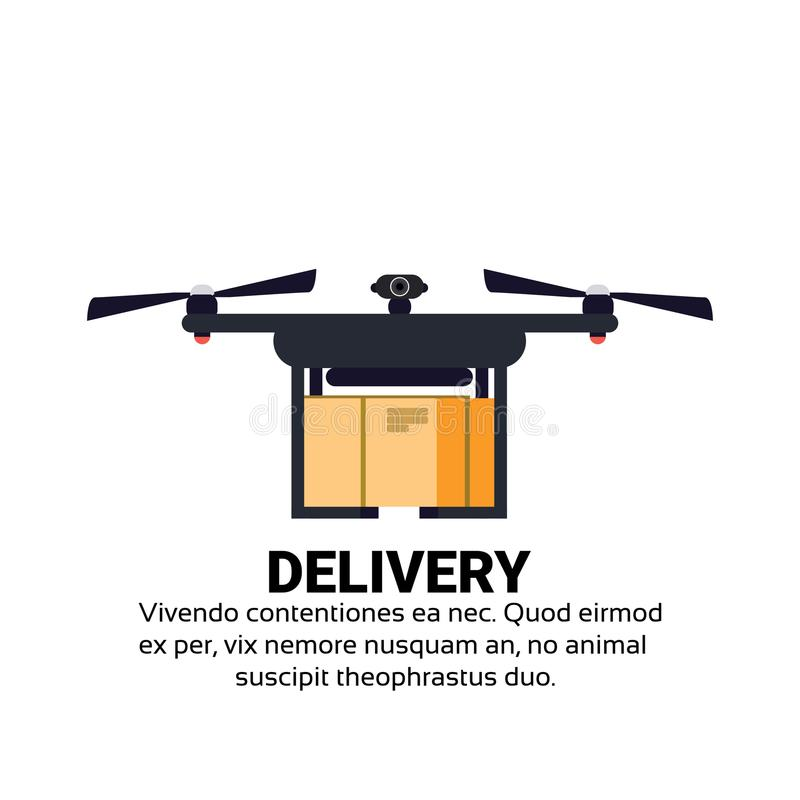 Drone flying delivery air package shipment carry quadrocopter isolated flat copy space stock illustration
