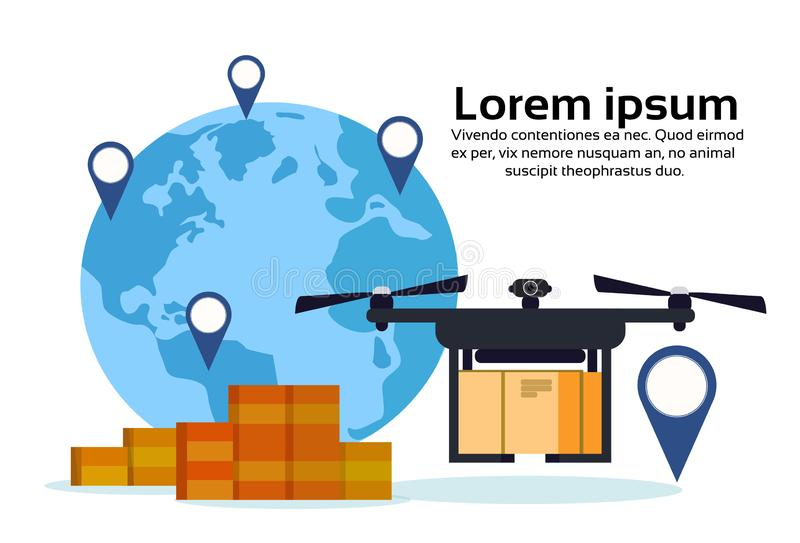 Drone flying delivery air package world map geo tag location international shipment carry quadrocopter isolated flat royalty free illustration