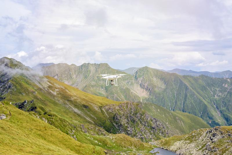 Drone flying in Fagaras Mountains stock images