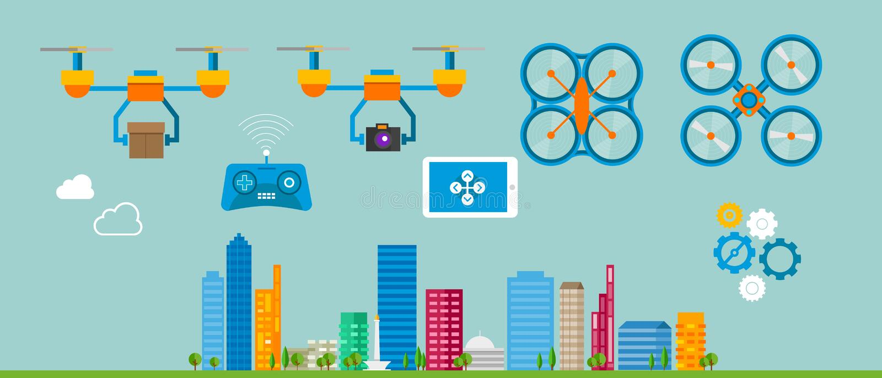 Drone. Flying illustration control UAV stock illustration
