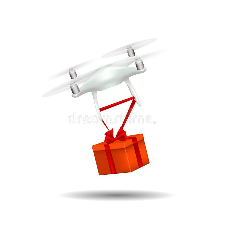 Free Drone Flying On A White Background And Bears A Gift, The Red Box. Royalty Free Stock Photos - 103980648