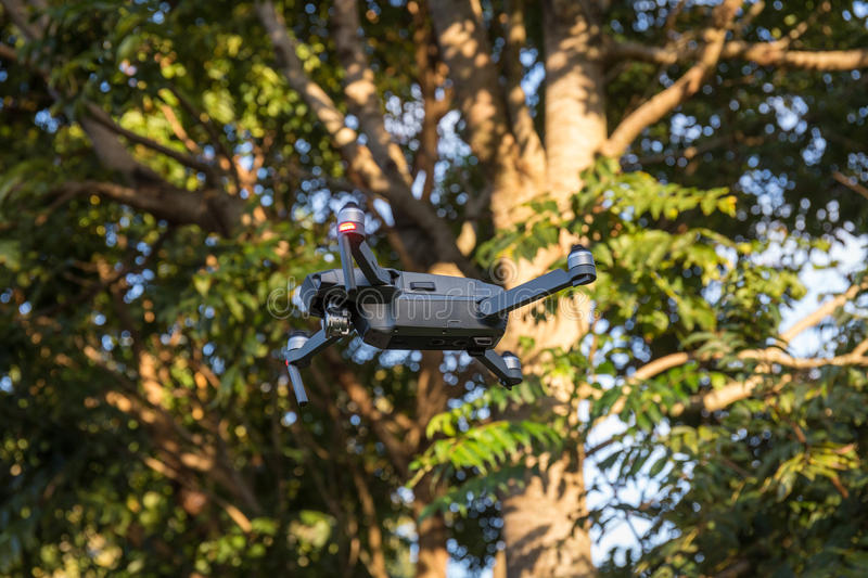 Drone flying in the rainforest royalty free stock images