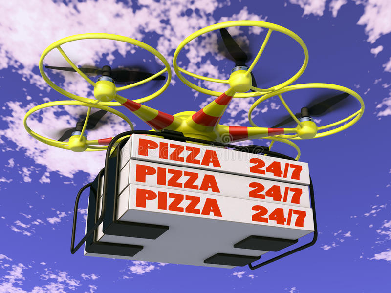 Drone. Flying drone to which are attached three boxes of pizza stock illustration