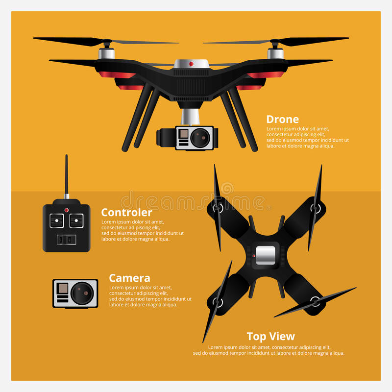Drone Front and Top View with controller and camera Vector Illustration vector illustration
