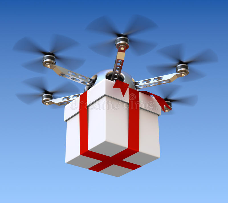 Drone with the gift vector illustration
