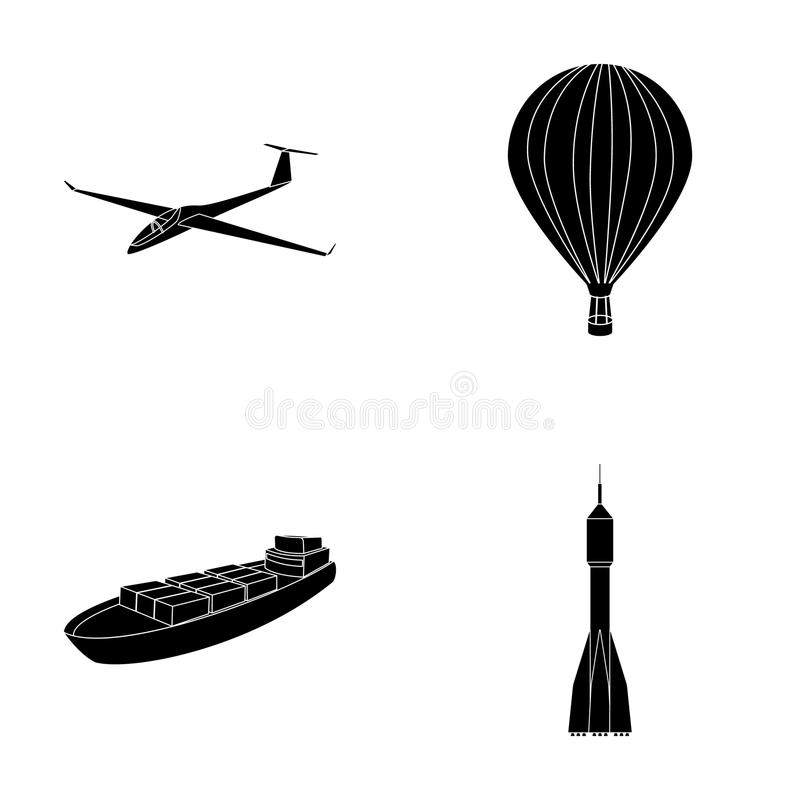 A drone, a glider, a balloon, a transportation barge, a space rocket transport modes. Transport set collection icons in stock illustration