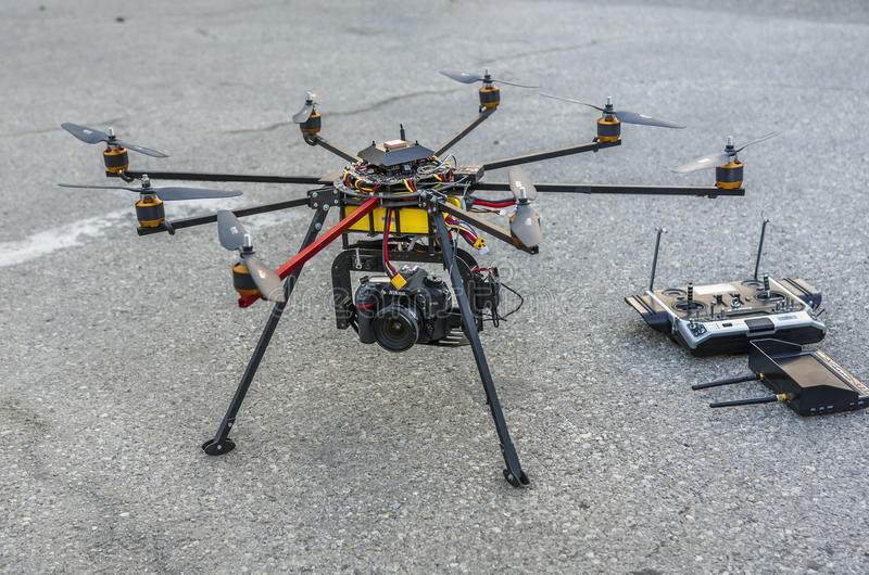Drone on the ground stock photo
