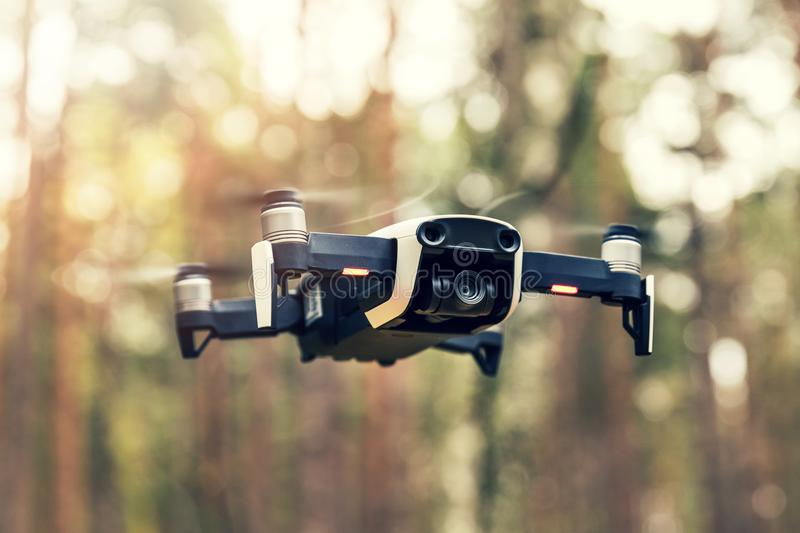 Drone hovering in the air stock photography
