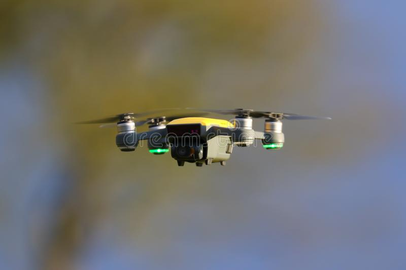Yellow Drone Flight. Drone hovering on a cold winter morning.ntaken Febuary 2018 royalty free stock photos