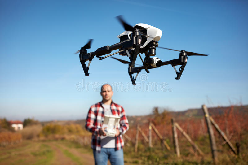Drone hovering over vineyard stock photos
