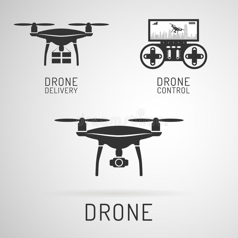 Drone icon. Aerial drone with a camera photographing or video. Drone delivering cargo. Control panel for drones. stock illustration