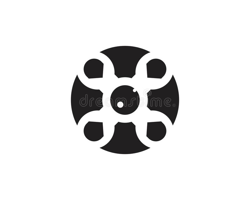 Drone icon logo vector. Abstract background blank camera cinema design entertainment equipment film filmstrip frame industry isolated movie negative old royalty free illustration