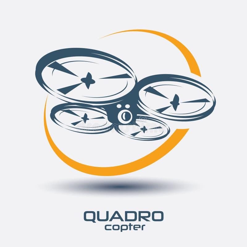 Drone icon, quadrocopter. Stylized vector symbol