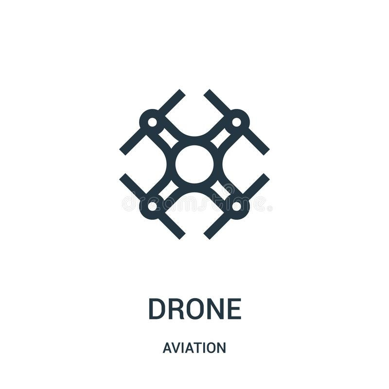 drone icon vector from aviation collection. Thin line drone outline icon vector illustration. Linear symbol for use on web and royalty free illustration