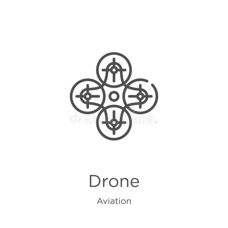Drone icon vector from aviation collection. Thin line drone outline icon vector illustration. Outline, thin line drone icon for. Drone icon. Element of aviation stock illustration