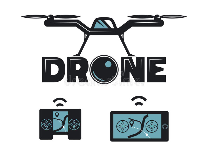 Drone Icon. Vector icon for quadrocopter. Drone with phone and controller