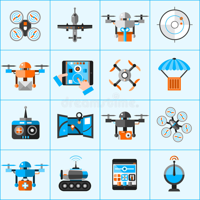 Drone Icons Set. Drone automatic flying surveillance camera icons set isolated vector illustration stock illustration