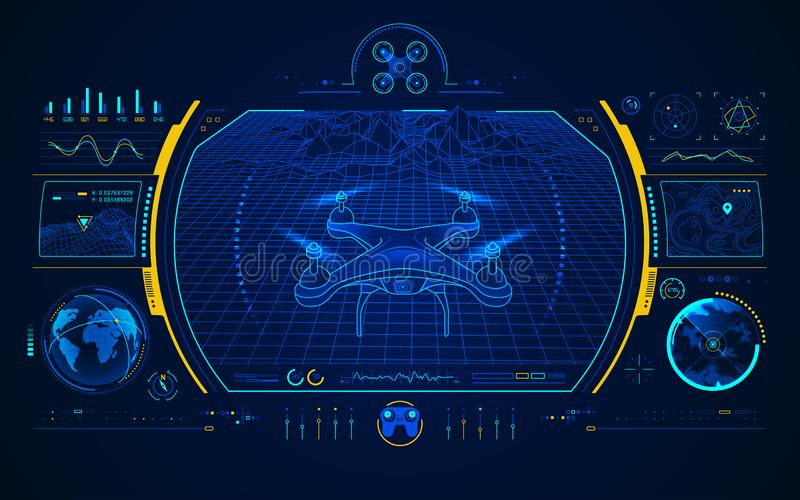 Drone interface. Concept of drone technology, graphic of quadrocopter control interface vector illustration