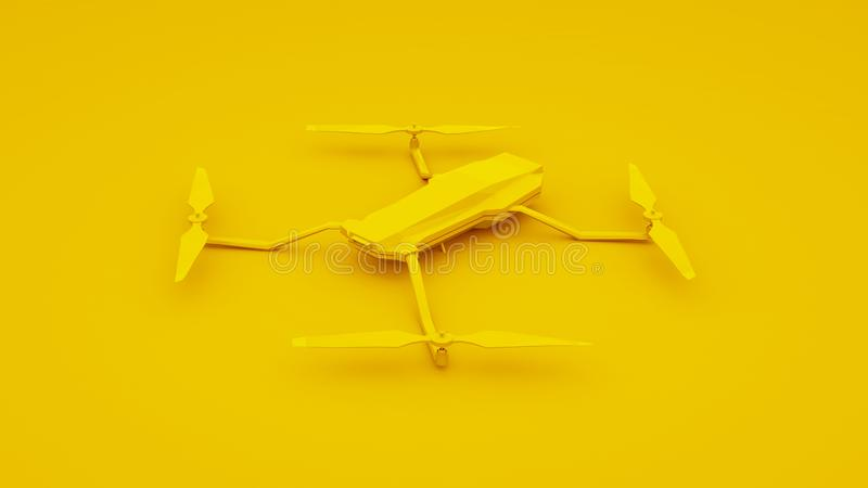 Drone isolated on yellow background. 3d illustration royalty free illustration
