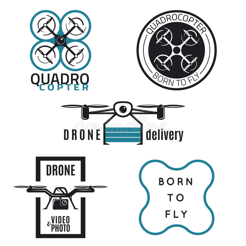 Drone Labels and icons design. Vector set of drone labels, badges and design elements. Quadrocopter flying camera, flight clubs and delivery