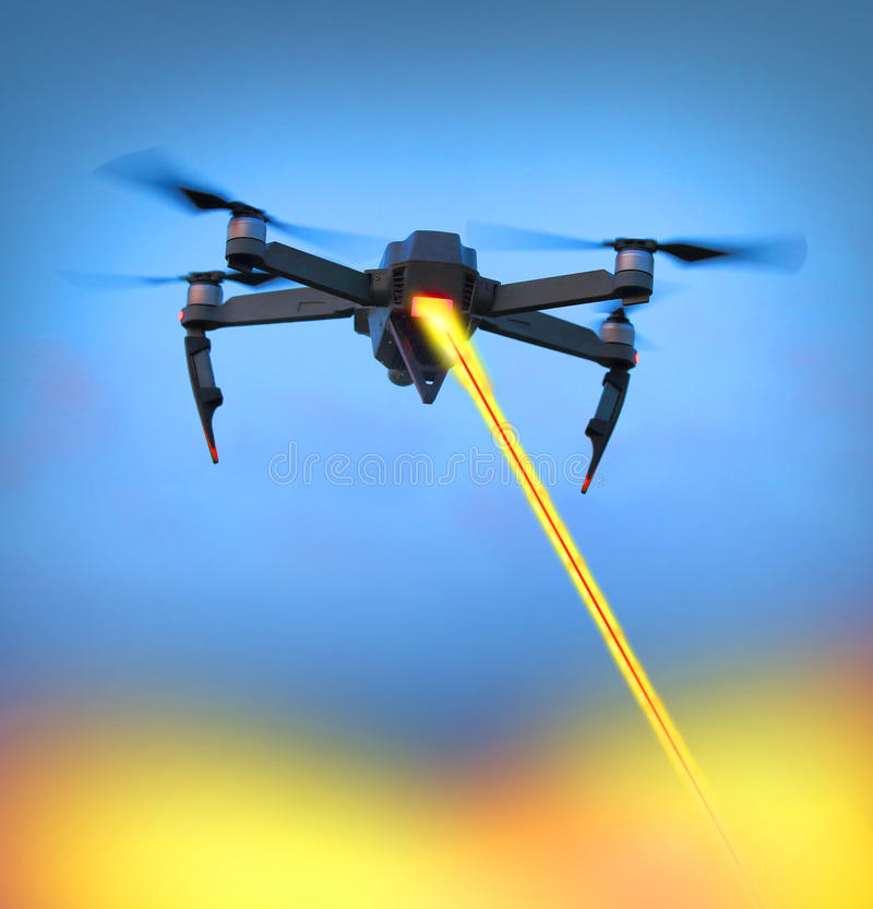 Drone with laser gun. A black military drone with laser gun firing to target on a ground. New technologies for soldiers and terrorists. Four industrial royalty free stock photos