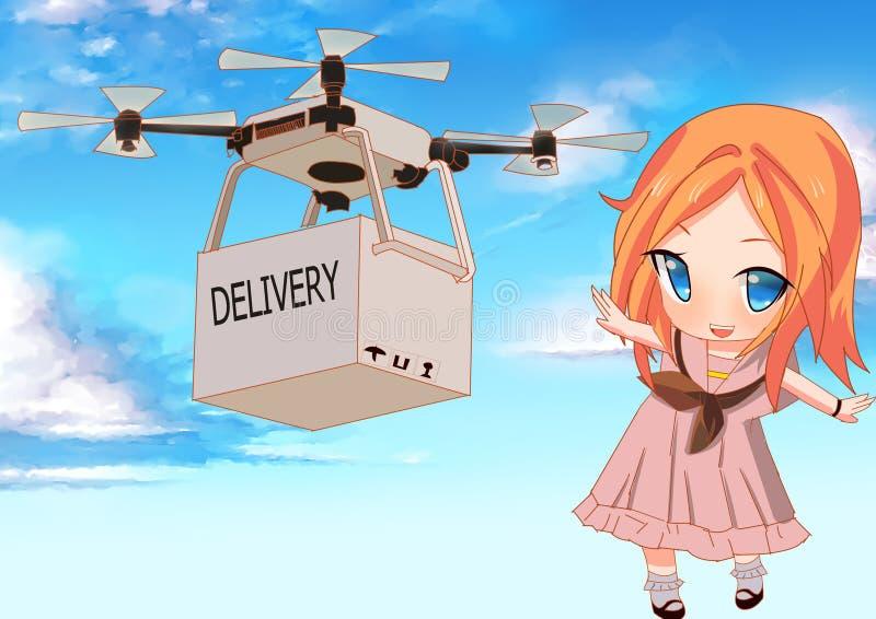 Drone Leverera lådan i luften till en flicka med vacker bakgrund vektor illustrationer