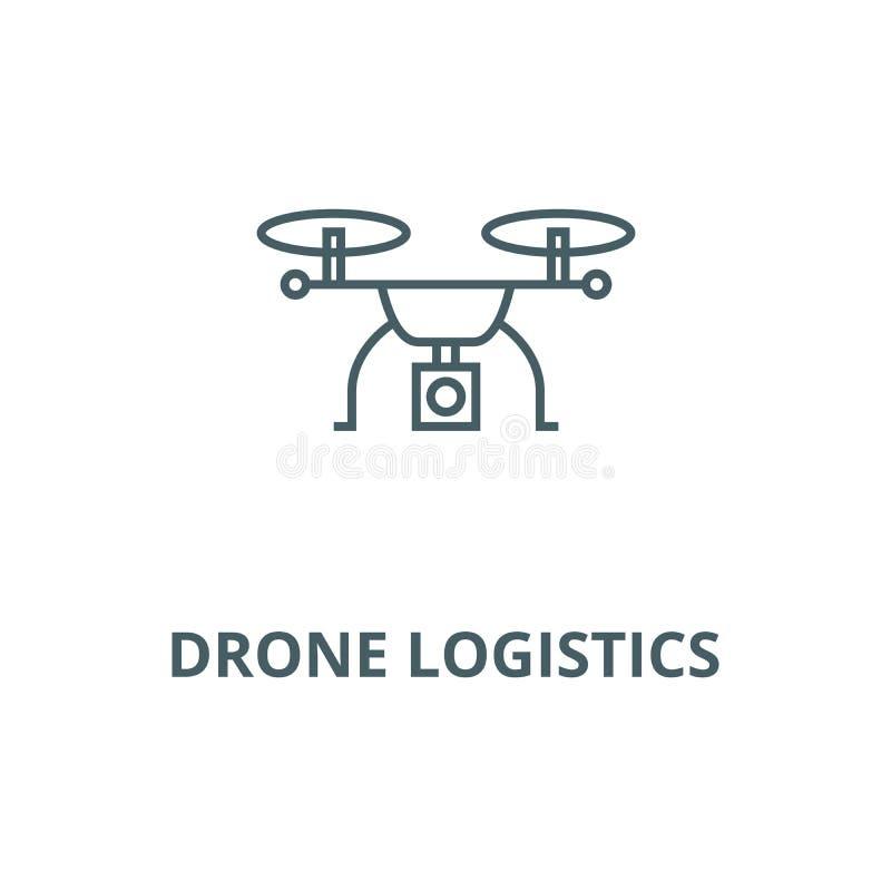 Drone logistics line icon, vector. Drone logistics outline sign, concept symbol, flat illustration vector illustration