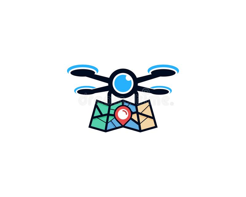 Drone Map Logo Icon Design royalty free illustration