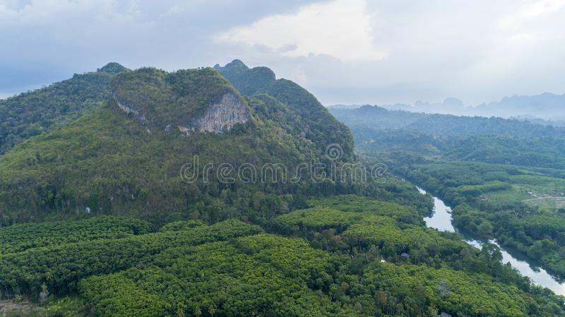 Drone nature view of Amazing heart nature mountain at Surat Thani, Thailand stock photos