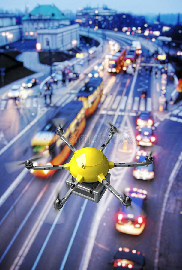 Drone night delivery royalty free illustration