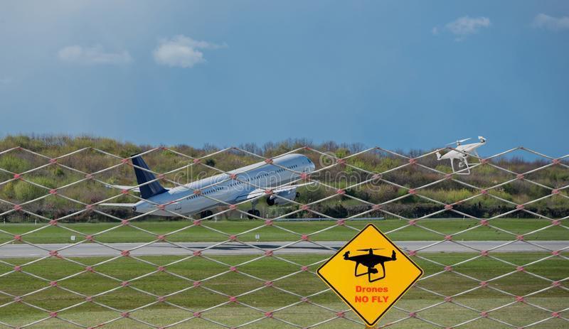 Drone No fly zone of an airspace at the airport stock images