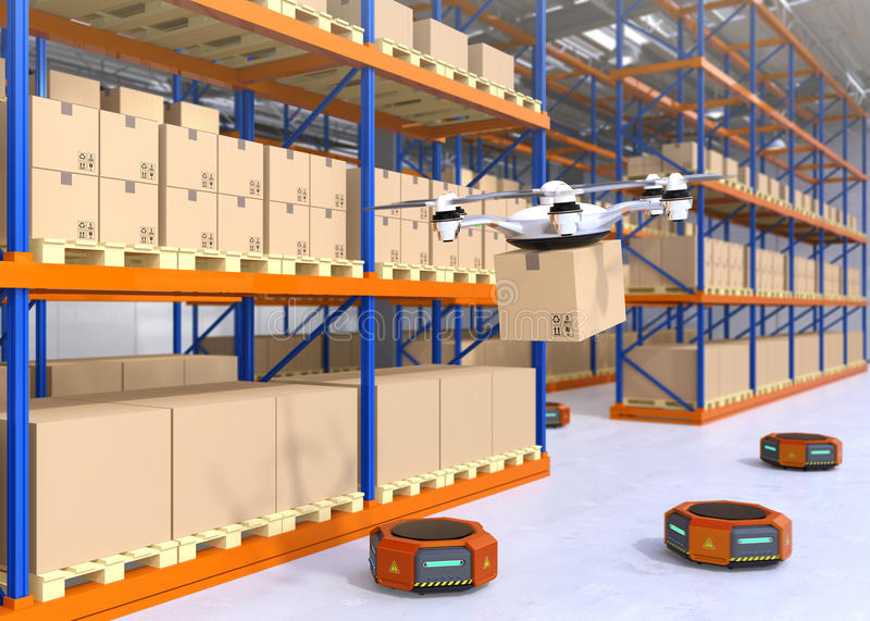 Drone and orange robots in modern warehouse stock illustration