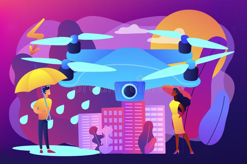 Meteorology drones concept vector illustration. Drone over the city collecting meteorological data. Meteorology drones, meteorological data collection, accurate stock illustration