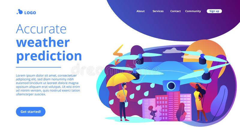 Meteorology drones concept landing page. Drone over the city collecting meteorological data. Meteorology drones, meteorological data collection, accurate vector illustration