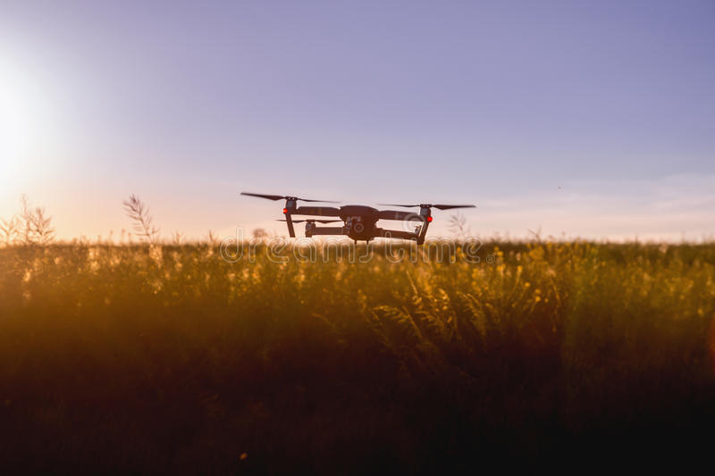 Drone over rural field at sunset royalty free stock photo